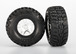Tires & wheels, assembled, glued (S1 ultra-solft off-road racing compound) (SCT Split-Spoke satin chrome, black beadlock style wheels, Kumho tires, foam inserts) (2) (front/rear)