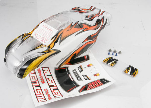 Body, Rustler, ProGraphix (replacement for the painted body. Graphics are printed, requires paint & final color application)/window, lights, decal sheet/wing & aluminum hardware