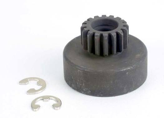 Clutch bell, (16-tooth)/5x8x0.5mm fiber washer (2)/ 5mm E-clip (requires #2728 - ball bearings, 5x8x2.5mm (2)