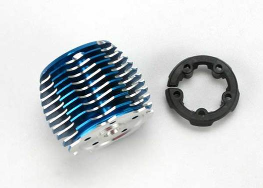Cooling head, PowerTune (machined aluminum, blue-anodized) (TRX 2.5 and 2.5R)/ head protector (plastic)