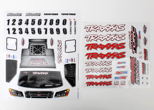 Decal sheets, 1/16 Slash 4WD team truck