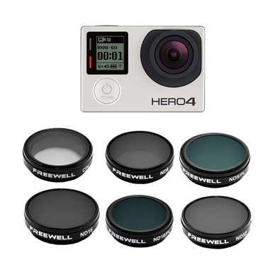 Freewell GoPro 4/3 Grad Filter 6-Pack (ND8, ND16, ND32, CPL, ND8-PL, ND16-PL)