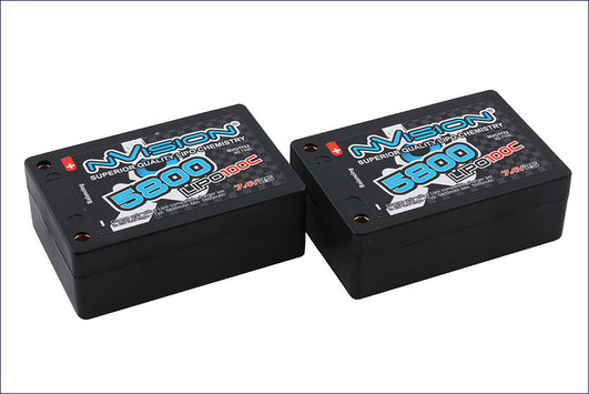 LiPo Pack nVision Factory Pro Lipo 5800 100C 7.4V Saddle Pack Tubes