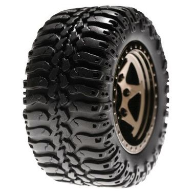 Losi Rear Wheels & Tires Mntd, Black Chrome(Pr):Mini-DT
