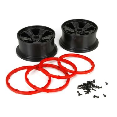 Losi Wheel/Beadlock, Black (2): 1:5 4wd