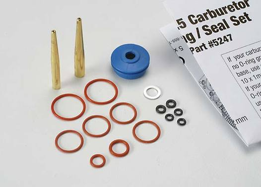 O-ring and seal set, carburetor/ O-rings: 2x1mm (3), 10x1mm (4), 2.5x1.15mm (2), 6.2x1.2mm (1)/ 5x.9mm O-ring installation tool/ 5.3x7.8x.6mm crush washer (2)/ carburetor dust boot (1) (TRX2.5, 2.5R)