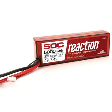 Reaction 7.4V 5000mAh 2S 50C LiPo, Hardcase: Deans