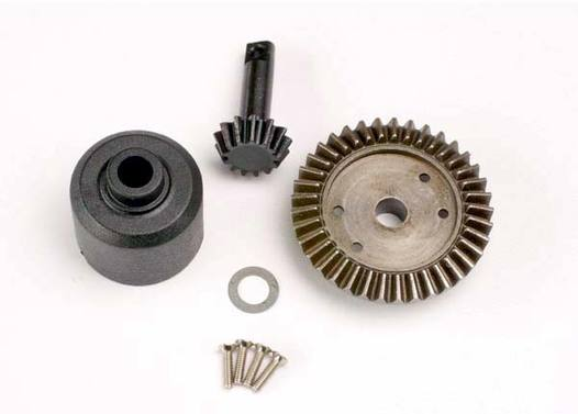 Ring gear, 37-T/ 13-T pinion/ diff carrier/6x10x0.5mm Teflon washer (1)/ 2x8mm countersunk machine screws (4)