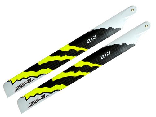 Rotorblätter ZEAL Carbon fiber Energy 210 mm neon yellow - Rex 250