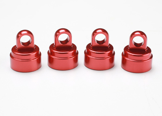 Shock caps, aluminum (red-anodized) (4) (fits all Ultra Shocks)