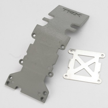 Skidplate, rear plastic (grey)/ stainless steel plate