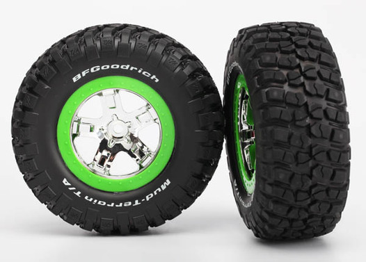 Tire & wheel assy, glued (SCT, chrome, green beadlock wheel, BFGoodrich® Mud-Terrain™  T/A® KM2 tire, foam inserts) (2) (2WD front only)