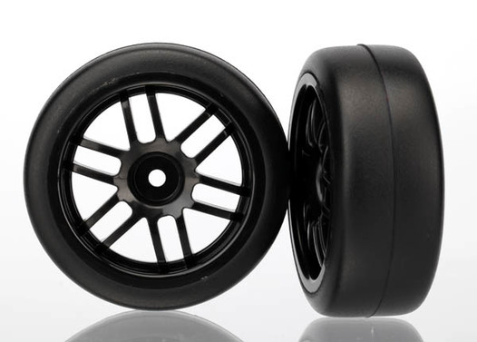 Tires and wheels, assembled, glued (Rally wheels, black , 1.9 Gymkhana slick tires) (2)