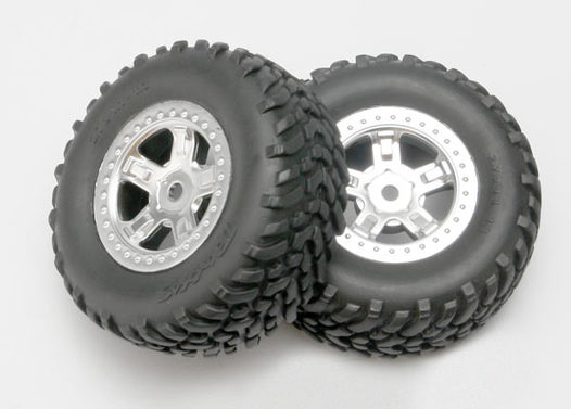Tires and wheels, assembled, glued (SCT satin chrome wheels, SCT off-road racing tires, foam inserts) (1 each, right & left)