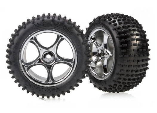 Tires & wheels, assembled (Tracer 2.2  chrome wheels, Alias 2.2  tires) (2) (Bandit rear, soft compound with foam inserts)