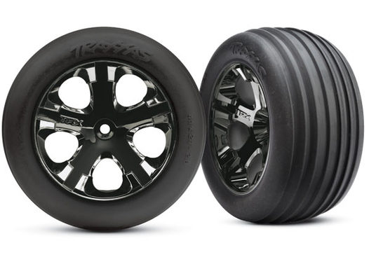 Tires & wheels, assembled, glued (2.8 )(All-Star  black chrome wheels, Ribbed tires, foam inserts) (electric front) (2)