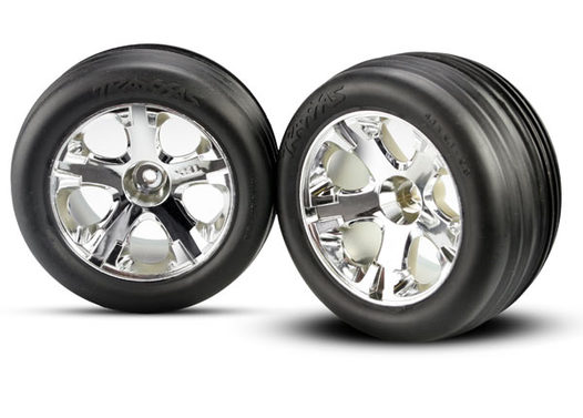 Tires & wheels, assembled, glued (2.8 )(All-Star chrome wheels, Ribbed tires, foam inserts) (electric front) (2)
