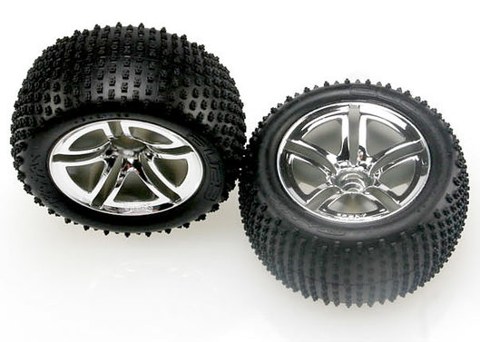 Tires & wheels, assembled, glued (2.8 ) (Jato Twin-Spoke wheels, Alias tires, foam inserts) (nitro rear) (2)