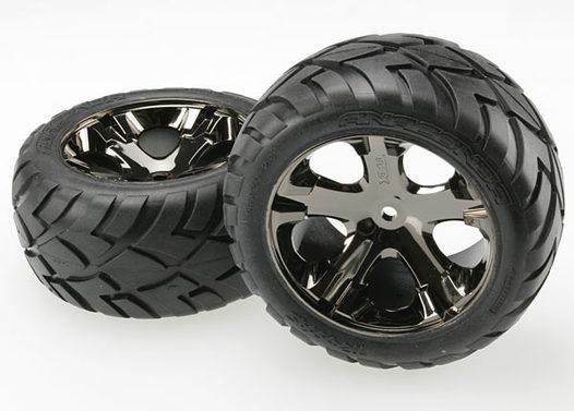 Tires & wheels, assembled, glued (All Star black chrome wheels, Anaconda tires, foam inserts) (electric rear) (1 left, 1 right)
