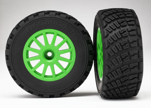 Tires & wheels, assembled, glued (Green wheels, BFGoodrich Rally, gravel pattern tires, foam inserts) (2)