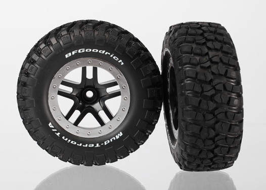 Tires & wheels, assembled, glued (SCT Split-Spoke, black, satin chrome beadlock wheels,  BFGoodrich® Mud-Terrain™  T/A® KM2 tires,  foam inserts) (2) (2WD Front)