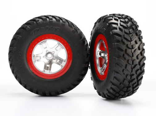 Tires & wheels, assembled, glued (SCT satin chrome red beadlock wheels, ultra soft S1 compound off-road racing tires, inserts) (2) (2WD rear, 4WD f/r)