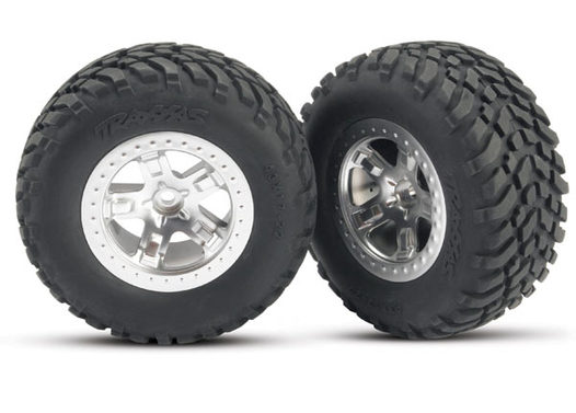 Tires & wheels, assembled, glued (SCT satin chrome wheels, (dual profile 2.2  outer, 3.0  inner), SCT off-road racing tires, foam inserts) (2) (front)