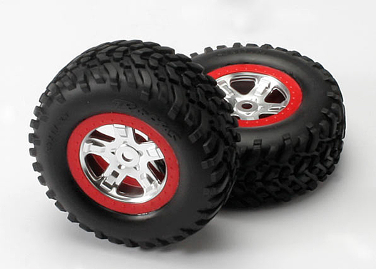 Tires & wheels, assembled, glued (SCT, satin chrome wheels, red beadlock (dual profile 2.2  outer 3.0  inner), SCT off-road tires, foam inserts) (2)