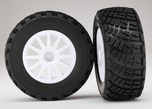 Tires & wheels, assembled, glued (White wheels, BFGoodrich Rally, gravel pattern, S1 compound tires, foam inserts) (2)