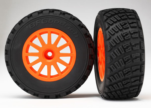 Tires & wheels, assembled, glued (orange wheels, BFGoodrich Rally, gravel pattern tires, foam inserts) (2)