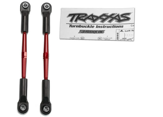 Turnbuckles, aluminum (red-anodized), toe links, 61mm (2)(assembled with rod ends & hollow balls) (fits Stampede) (requires 5mm aluminum wrench #5477)