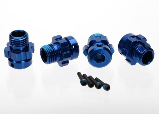 Wheel hub, splined, 17mm, 6061-T6 aluminum (blue-anodized) (4)/ screw pin, 4x13mm (with threadlock) (4) (for 6mm axles)