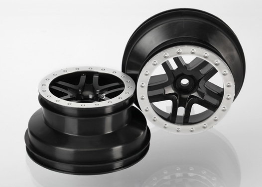 Wheels, SCT Split-Spoke, black, satin chrome beadlock style, dual profile (2.2  outer 3.0  inner) (4WD f/r, 2WD rear) (2)