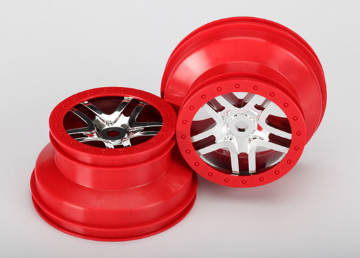 Wheels, SCT Split-Spoke, chrome, red beadlock style, dual profile (2.2  outer 3.0  inner) (front/rear) (2)