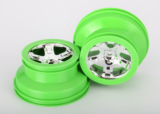Wheels, SCT, chrome, green beadlock style, dual profile (2.2  outer 3.0  inner) (2) (4WD front/rear, 2WD rear only)
