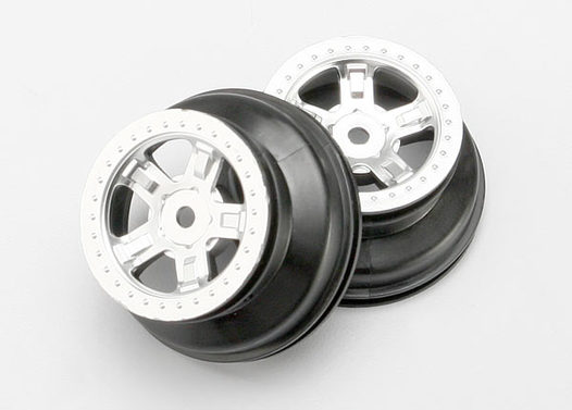 Wheels, SCT satin chrome, beadlock style, dual profile (1.8  outer, 1.4  inner) (2)
