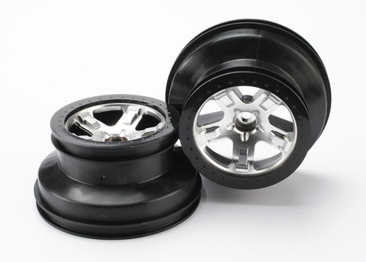 Wheels, SCT satin chrome, beadlock style, dual profile (2.2  outer, 3.0  inner) (front)