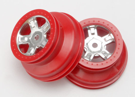Wheels, SCT satin chrome, red beadlock style, dual profile (1.8  outer, 1.4  inner) (2)