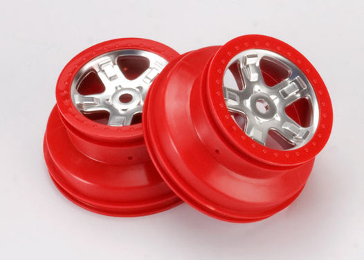 Wheels, SCT satin chrome with red beadlock, dual profile (2.2  outer 3.0  inner) (2)